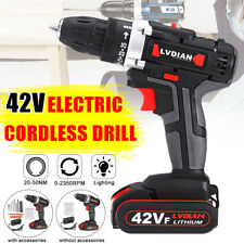 42V Impact Cordless Dual Speed Li-ion Battery Electric Drill Hammer Hand  **