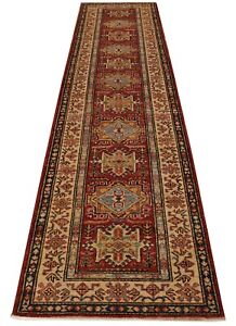 Red 10 ft Hallway Runners Gemstones Luster Hand-knotted Super Kazak Lodge Rug