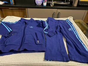 Toddlers Adidas Blue 100% cotton Tracksuit Age 3 Years Vgc
