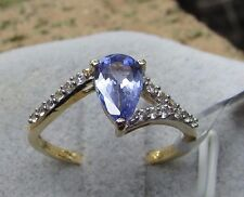 1.04 cts Genuine AA Tanzanite Solitaire Size 7 Ring in 10k Gold w/ Zircon Accent
