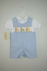 NWT Spring Summer Painter Easter Bunnies Outfit Smocked Boy 4T