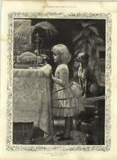 1885 Charming Artwork Young Girl With Puppy Yearning For Christmas Turkey