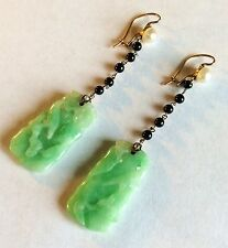 Art Deco Carved Jade Onyx Pearl And Diamond Earrings