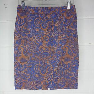 LOFT Ann Taylor Pencil Skirt Women Size 4 Paisley Print