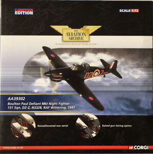 CORGI AVIATION ARCHIVE 1/72 AA39302 BOULTON PAUL DEFIANT MKI  *LTD ED + MIB*