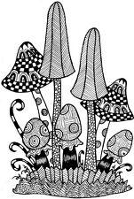 Lindsay Mason Clear Stamps zendoodle champignons RTG Fée Champignon Amanite Craft
