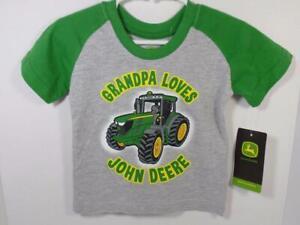 New Boy's Gray & Green GRANDPA LOVES JOHN DEERE Tractor Shirt, Sz 12 Months