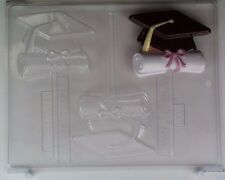 GRADUATION CAP AND DIPLOMA LOLLIPOP CLEAR PLASTIC CHOCOLATE CANDY MOLD G006