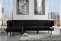 Mid-Century Sleeper Sectional Sofa, Living Room Futon, Black