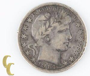 1914-S Barber Half Dollar (Very Fine, VF) San Francisco Silver 1/2 $ 50c KM-116