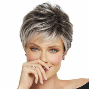 Ladies Wig Natural Short Light Gray Straight Hair Curly Wig Fashion NEW