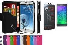 PU Leather Book Wallet Flip Case Cover With Tempered Glass For Samsung Phones