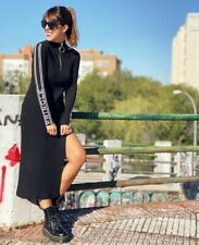 H&M X PRINGLE BLACK SOFT RIB TURTLENECK DRESS WITH SLIT - SIZE M 14-16 BNWT