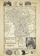 Derbyshire  County Map by Herman Moll 1724 - Reproduction