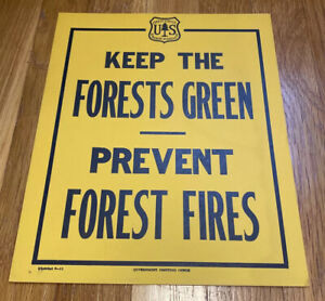 """Antique US Forest Service Fires """"Keep The Forests Green Prevent Forest Fire"""""""