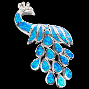 Ocean Blue Fire Opal Large Peacock Silver Jewellery Pendant for Necklace