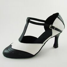 Genuine Leather T-Strap Latin Modern Dance Shoes Women's 3'' Heel Ballroom Shoes