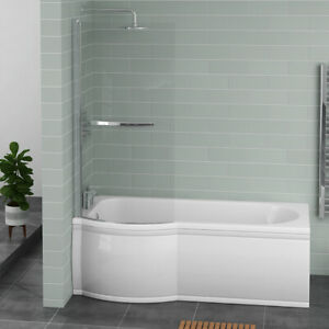 White P Shape Shower Bath 1675 mm with Front Panel & Pivoting Glass Screen