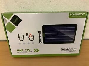 ECO-WORTHY 10W 12V SOLAR TRICKLE CHARGER NEW CARAVAN BOAT CAR VEHICLES