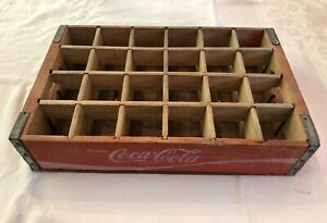 Vintage Rice Lake WI Red Wooden Divided Coca-Cola Crate 24 Bottle Carrier Coke
