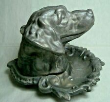 Awesome antique metal figural dog inkwell