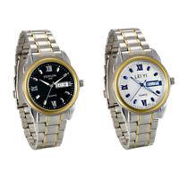 Men's Business Roman Numberals Luminous Stainless Steel Date Quartz Wrist Watch