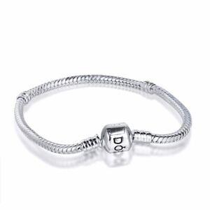 Silver Charm Bracelet bangle Snake chain Fit S925 European charms dangle Bead