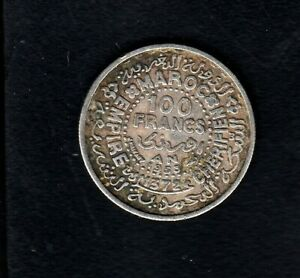 MOROCCO SILVER COIN  100 FR, 1953 YEAR