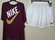 NIKE SWOOSH OUTFIT SHIRT + SHORTS MAROON GOLD WHITE VERY RARE NEW (SIZE 4XL)