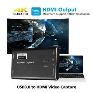 HDMI to USB 3.0 Video Capture Card 60fps 4K 1080p HD Recorder Game Live Stream