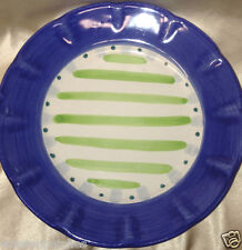"WILLIAMS SONOMA ITALY COUNTRY FAIR DINNER PLATE 10 1/8"" BLUE RIM GREEN STRIPES"