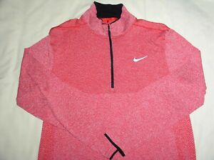 Mens NIKE GOLF Pullover Jacket,Large,Pink,1/4 Zip,DRI-FIT,Modern Fit,Ex Cond