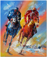 Polo Art - Original Hand Painted Horse Race Oil Painting Fine Art On Canvas