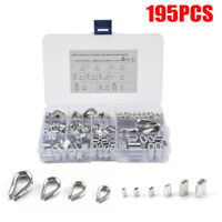 195x M2/3/4/5 Stainless Steel Thimble w/ Crimping Loop Sleeve Assortment Kit