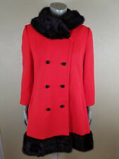 Lilli Ann Womens Red Wool Princess Swing Coat Jacket Black Mink Fur Collar