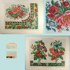2 Antique Floral Berlin Woolwork Needlepoint/XStitch Charts * French *Dated 1860