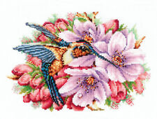 """Counted Cross Stitch Kit MAKE YOUR OWN HANDS H-44 - """"Hummingbird with flowers"""""""