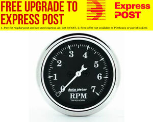 """Auto Meter Old Tyme Black Tachometer 2-1/16"""", In-Dash, Electric, 0-7,000 rpm"""