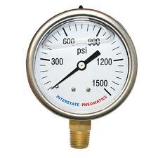 "Oil Filled Pressure Gauge 1500 PSI 2-1/2"" Dial 1/4"" NPT Bottom Mount G7022-1500"