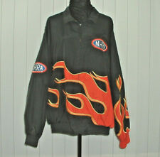 Men's H3 SPORTSGEAR NHRA Winston Drag Racing Black Flames Jacket Pockets 2XL