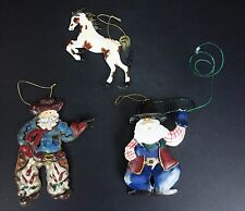3 Western Ornaments Cowboy Santa Horse Metal Holiday Christmas Tree Ornament