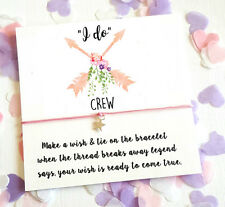Wish String Bracelet I do Crew Arrows Wedding Wreath Favour Card Hen Party A117