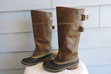 Women's Sorel Tall Slimpack II Leather Riding Boots Brown Leather Size 7.5
