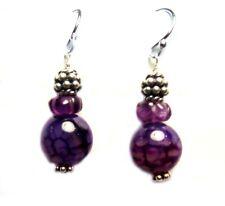 .925 Silver Earrings E645b Viola Purple Agate Amethyst 1-1/4�