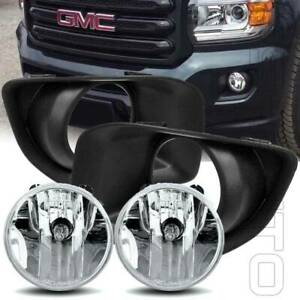 For 15-19 GMC Canyon Clear Lens Driving Fog Lights Kit w/Bezel Bulbs Replace New