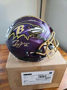 Ray Lewis Signed full size True Blaze Baltimore Ravens helmet schutt authentic!