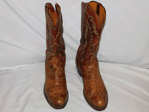1883 LUCCHESE BROWN OSTRICH BOOTS SIZE 11EE