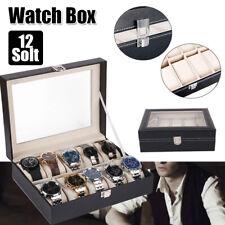 Watch Case for Men 12 Slots Leather Storage Organizer Display Box Large Holder