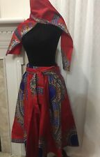 Yoachy Collections, Dashiki Flare Women Short Skirt with Free Scarf One Size