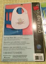 NIP Dimensions Embroidery Lot of 3 Bib Kits ~ Owl Airplane Fishing Bear in Boat